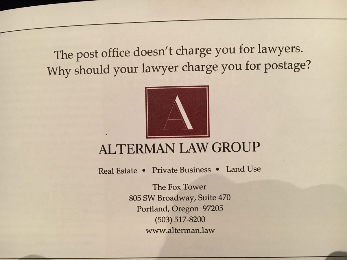 Alterman Law Group advertisement: The post office doesn't charge you for lawyers. Why should your lawyer charge you for postage?