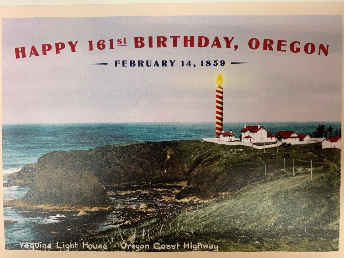 Oregon's 161st Birthday, with a candle at Yaquina Head Lighthouse