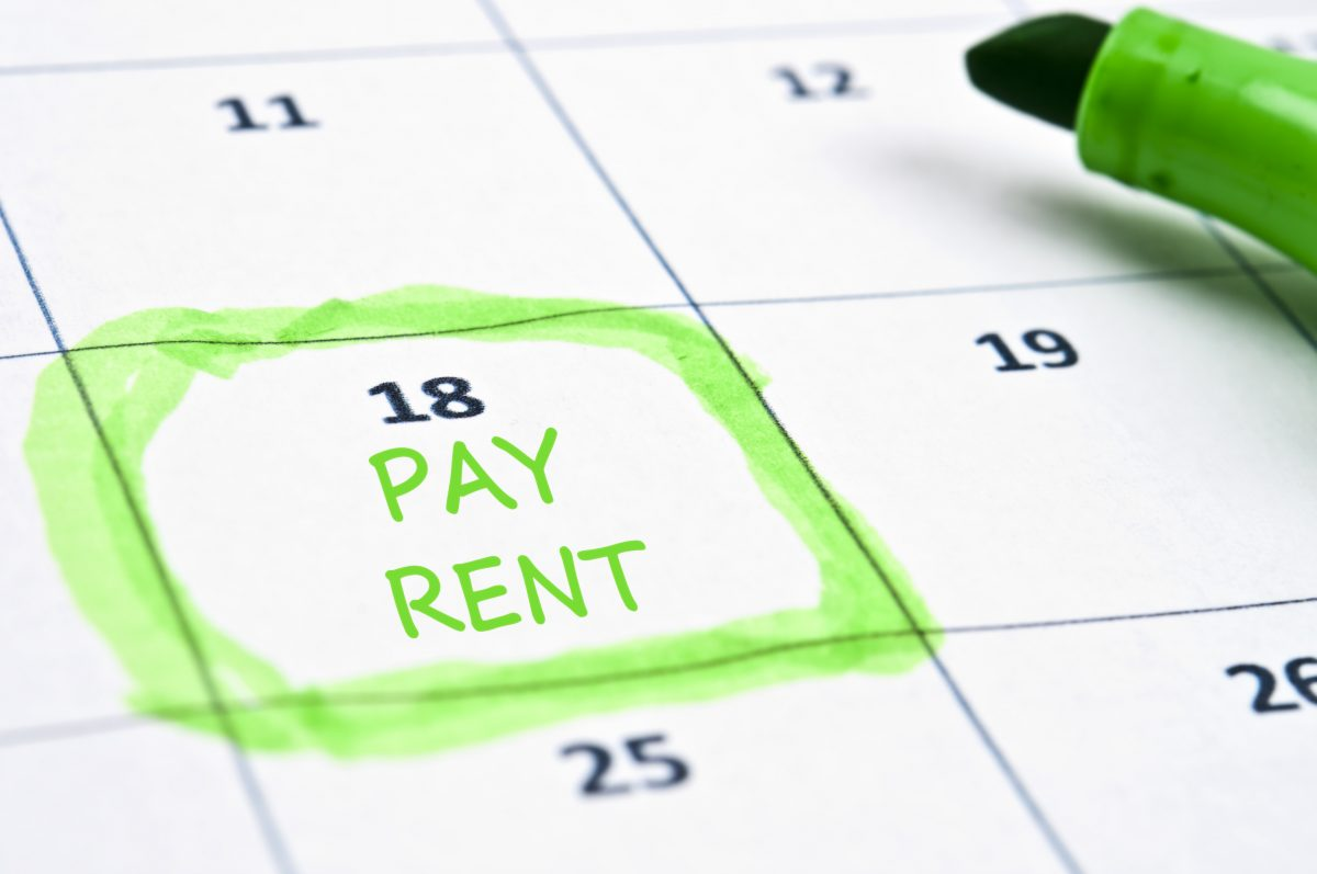 Calendar with date rent is due - licensed from Shutterstock