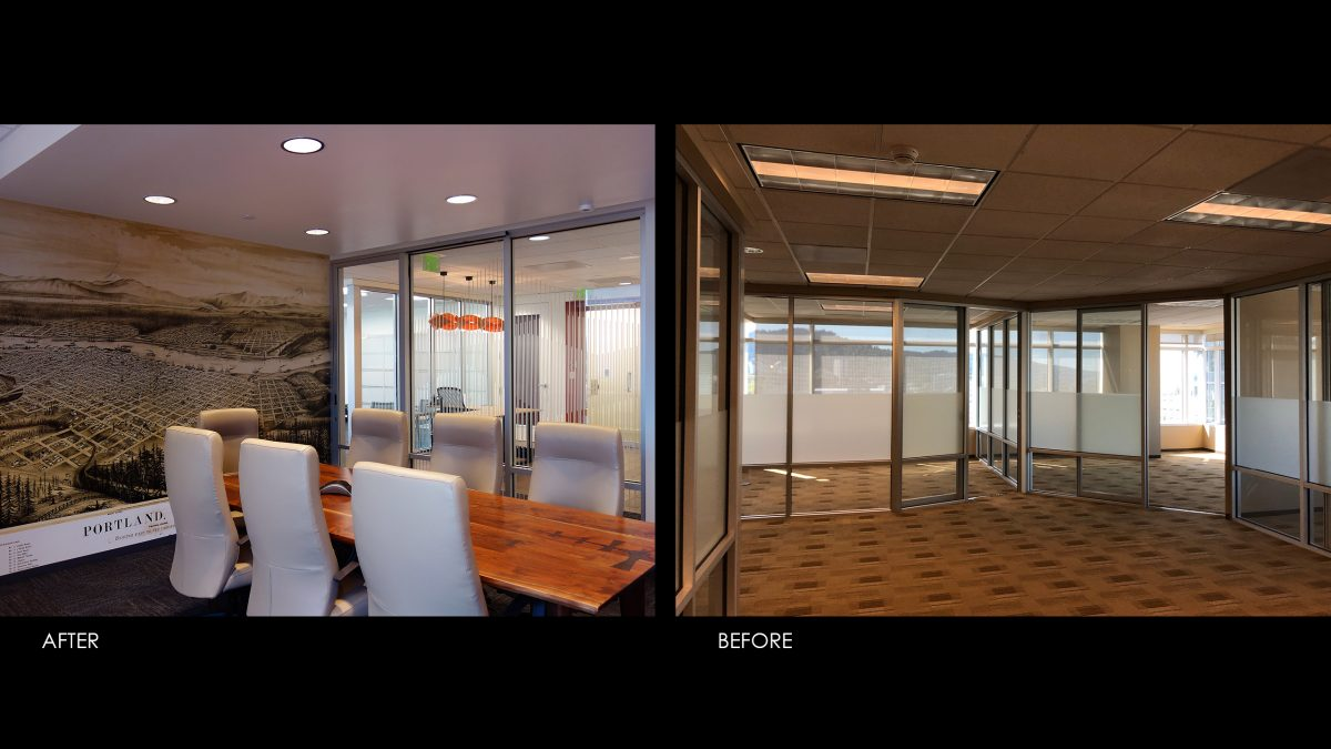 Before and after picture of our office, showing conference room, mural, and table